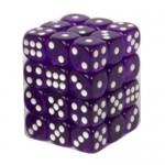 Boite De 36 Dés 6 Faces 12mm  Transparent Dark Purple