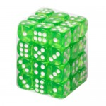 Boite De 36 Dés 6 Faces 12mm  Transparent Grass Green