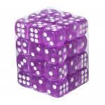 Boite De 36 Dés 6 Faces 12mm  Transparent Light Purple