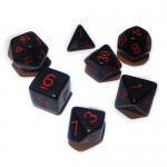 16mm - Role Playing Dice Set - Black with Red numbers