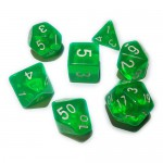 16mm - Role Playing Dice Set - Crystal Green