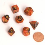 Dés  MINI 12mm - Role Playing Dice Set - Double Couleur Noir / Orange
