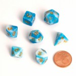 Dés  MINI 12mm - Role Playing Dice Set - Double Couleur Bleu / Blanc