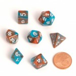 Dés  16mm - Role Playing Dice Set - Double Couleur Orange / Bleu