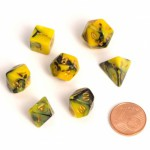 Dés  MINI 12mm - Role Playing Dice Set - Double Couleur Jaune / Noir