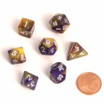 Dés  MINI 12mm - Role Playing Dice Set - Double Couleur Jaune / Violet