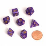 Dés  MINI 12mm - Role Playing Dice Set - Marbre Violet Foncé