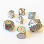 Dés  Metal Dice 20mm Set - Steampunk Silver / Violet
