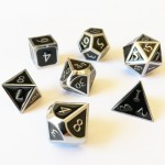 Dés  Metal Dice 20mm Set - Steampunk Silver / Noir