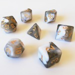 Dés  16mm - Role Playing Dice Set - Double Couleur Noir / Blanc