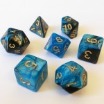 Dés  16mm - Role Playing Dice Set - Marbré Bleu / Noir