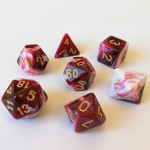 Dés  16mm - Role Playing Dice Set - Double Couleur Rouge / Blanc