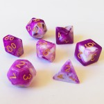 Dés  16mm - Role Playing Dice Set - Marbré Violet / Blanc