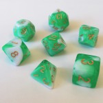 Dés  16mm - Role Playing Dice Set - Marbré Vert / Blanc