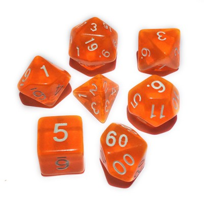 Dés 16mm - Role Playing Dice Set - Transparent Orange