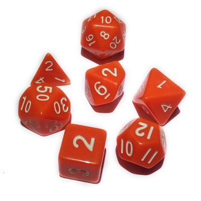 Dés 16mm - Role Playing Dice Set - Opaque Orange