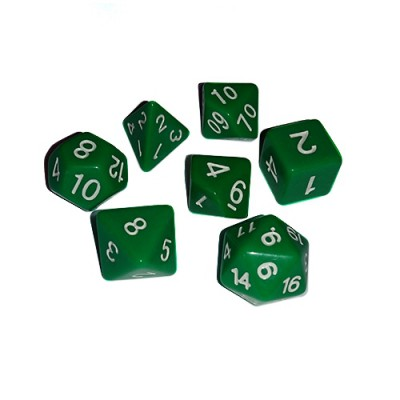 Dés 16mm - Role Playing Dice Set - Green / Vert