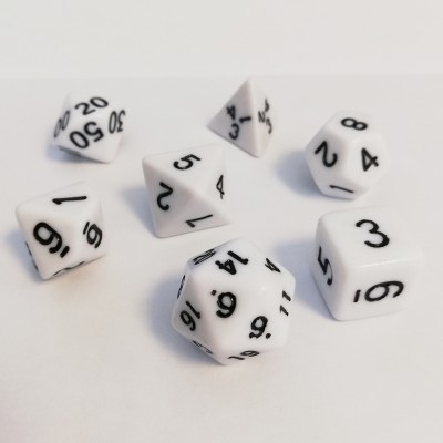 Dés 16mm - Role Playing Dice Set - Opaque Blanc