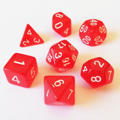 Dés 16mm - Role Playing Dice Set - Transparent Rouge