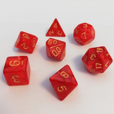 Dés 16mm - Role Playing Dice Set - Perle Rouge