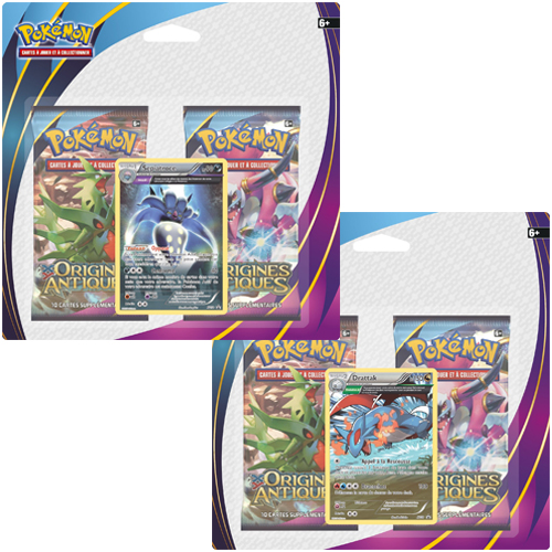 jeux de cartes xy07 origines antiques pack 2 boosters 1 carte promo 39 x2 fr pokemon. Black Bedroom Furniture Sets. Home Design Ideas